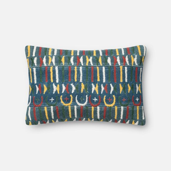 "Contemporary 13""x21"" Cover w/Down Pillow in Blue/Multi"
