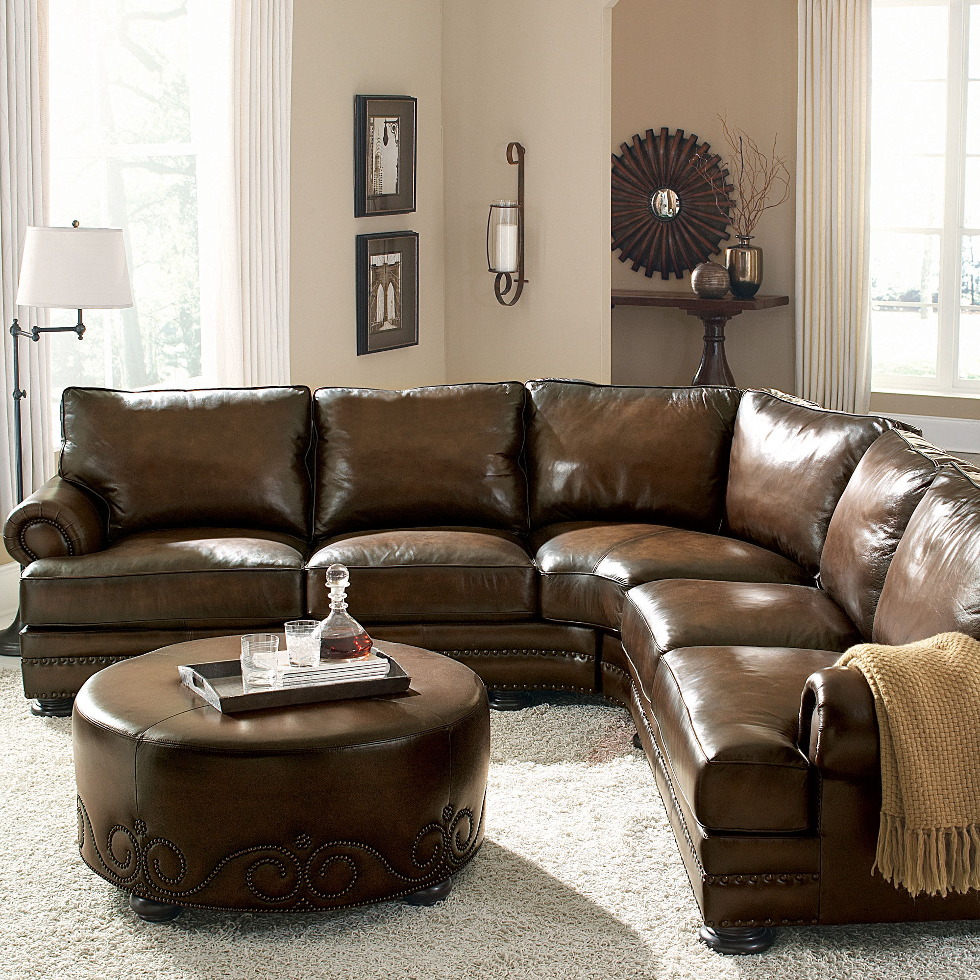 European Classic Nailhead Accented Leather 103 Quot Sectional