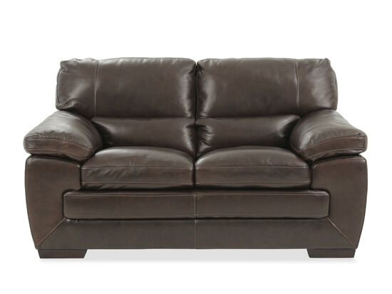 "Traditional Leather 65"" Loveseat in Black Oak"