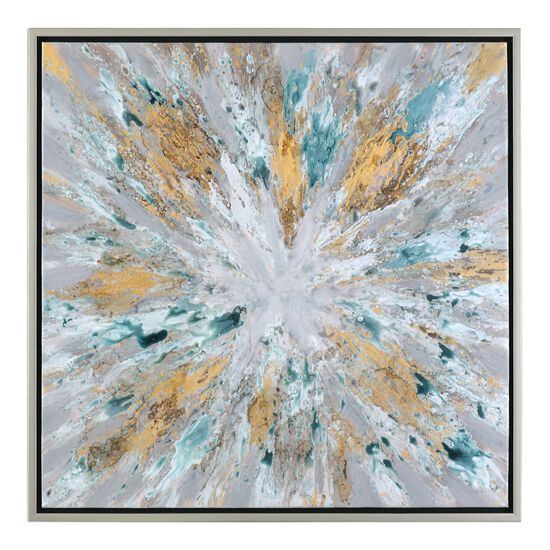 Framed Exploding Star Abstract Canvas Wall Art