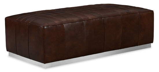 Billy Leather Cocktail Ottoman in Brown