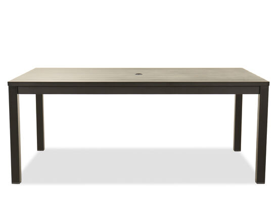 "72"" Modern Aluminum Patio Dining Table in Black"