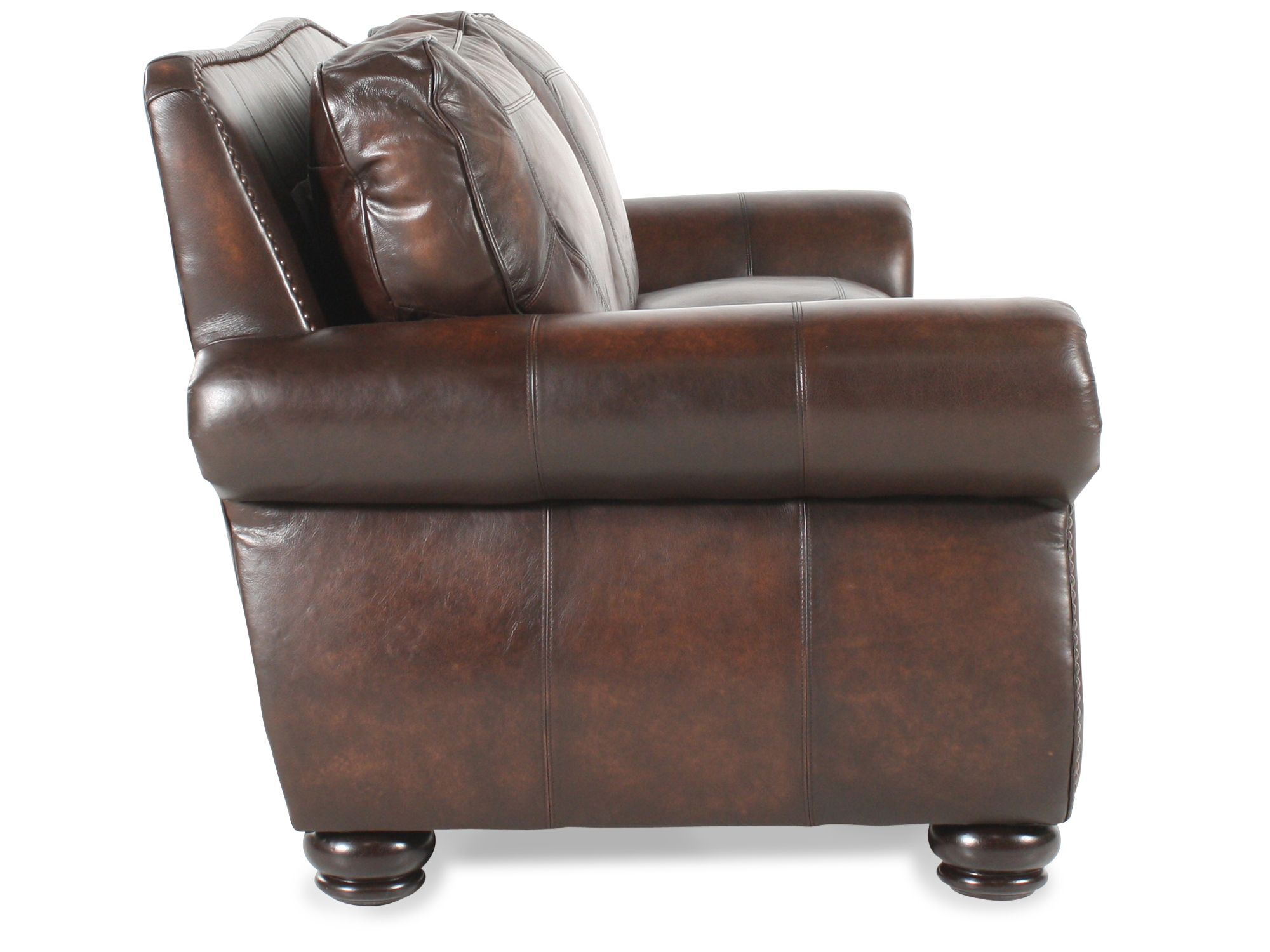 Nailhead Accented Leather 100u0026quot; Sofa In Brown