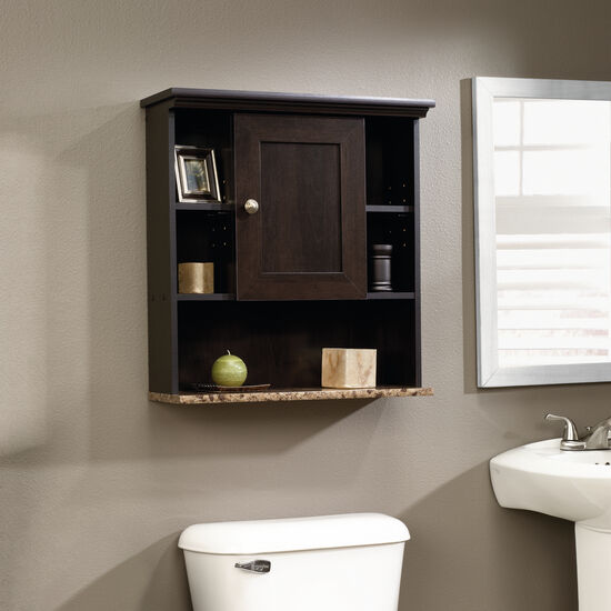 Transitional Reversible Door Wall Cabinet in Cinnamon Cherry