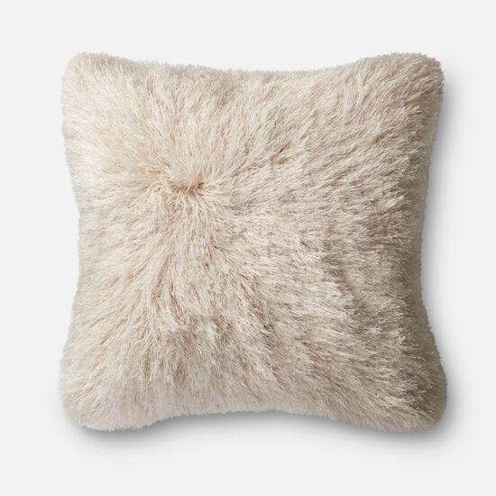 """Contemporary 22""""x22"""" Cover w/Down Pillow in Ivory"""