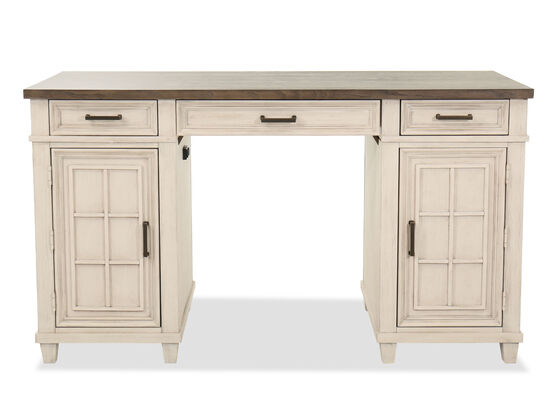 Two-Door Wood Counter Height Desk in Aged Ivory