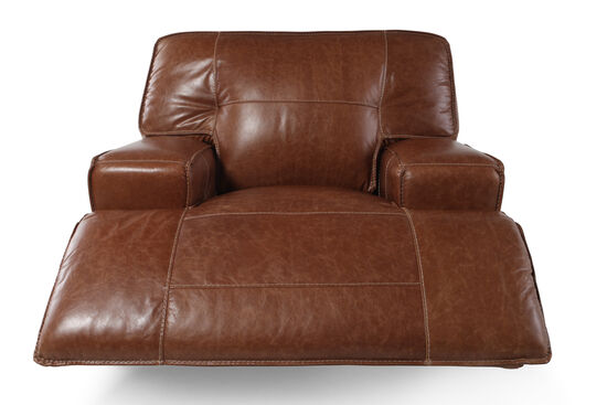 "Leather 47"" Power Recliner in Caramel"
