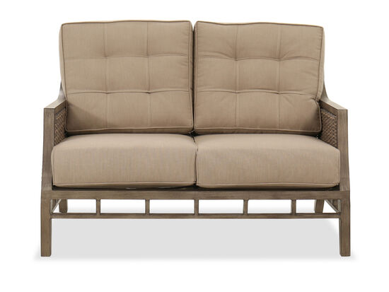 Casual Tufted Loveseat in Brown
