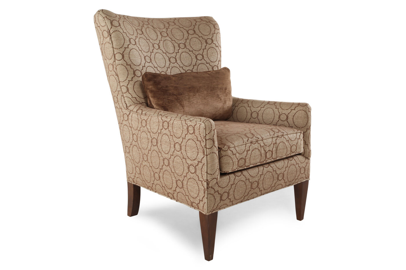 transitional trellis patterned 30 wing chair in brown mathis brothers furniture. Black Bedroom Furniture Sets. Home Design Ideas