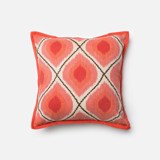 """Contemporary 18""""x18"""" Cover w/down pillow in Coral/Pink"""