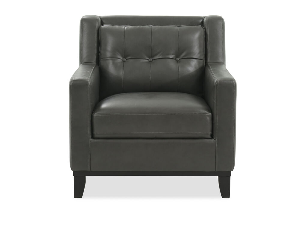 Button-Tufted Leather Accent Chair in Gunmetal
