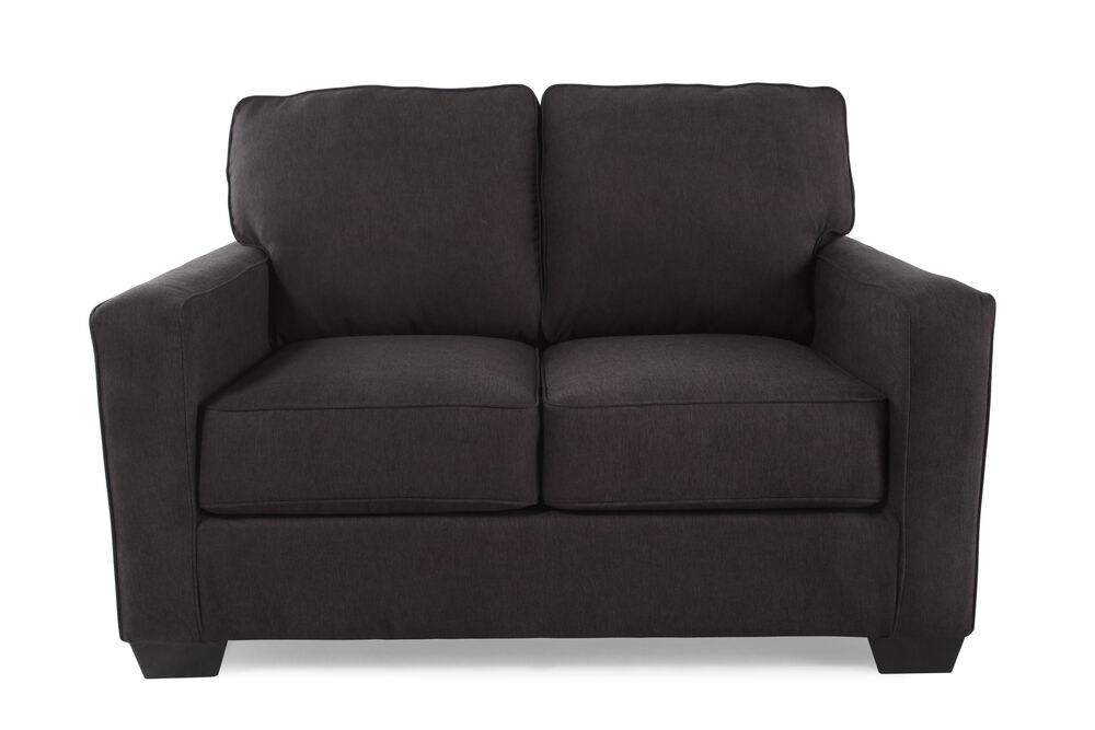 Contemporary 55 Quot Twin Sleeper Loveseat In Charcoal Gray