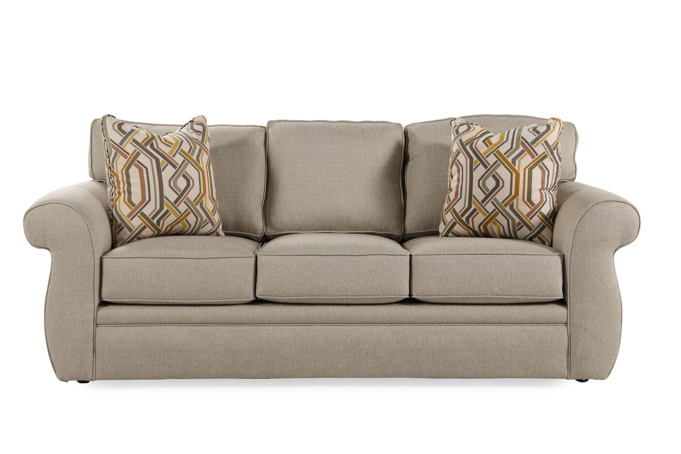 contemporary 87 queen sleeper sofa in latte mathis brothers furniture. Black Bedroom Furniture Sets. Home Design Ideas