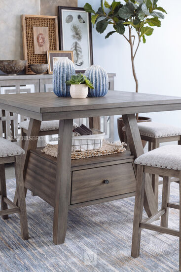 Five-Piece Counter Table and Barstool Set in Brown