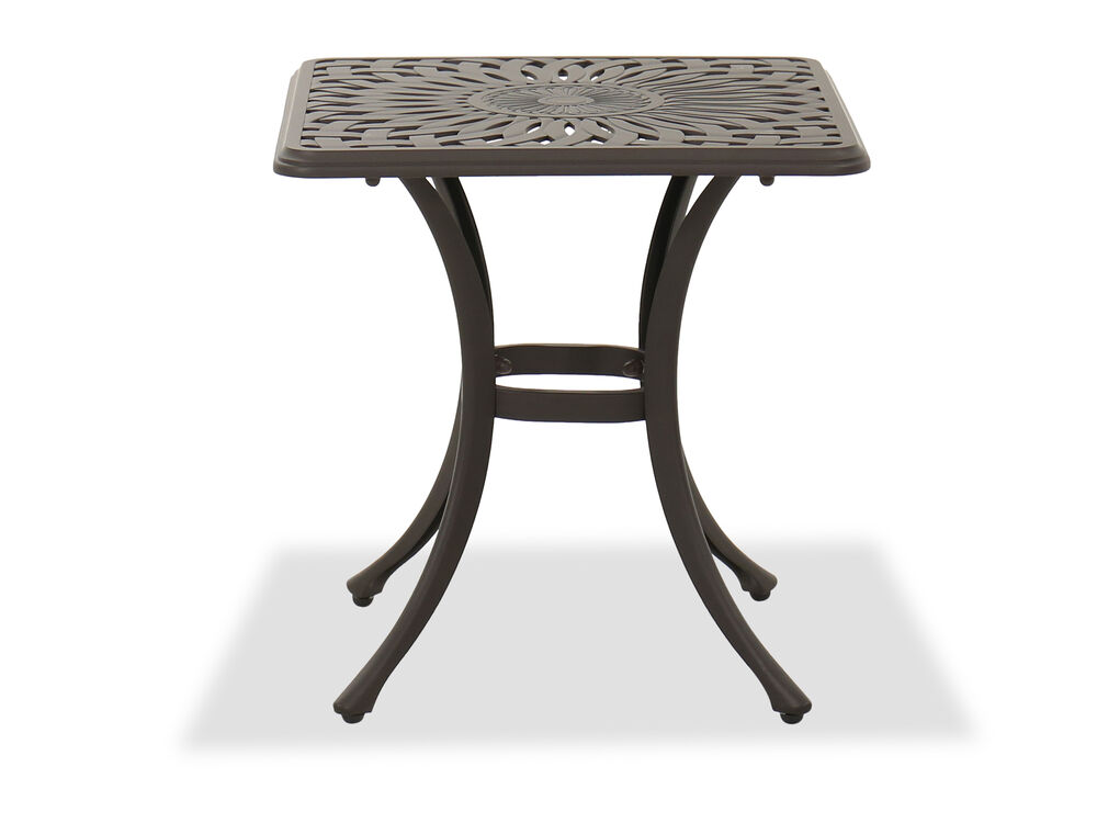 Aluminum Square End Table in Brown