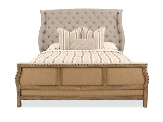 """72.5"""" Traditional Button Tufted King Bed in Gray"""