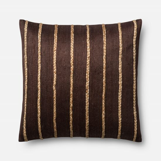 "Contemporary 22""x22"" Cover w/Poly Pillow in Brown"
