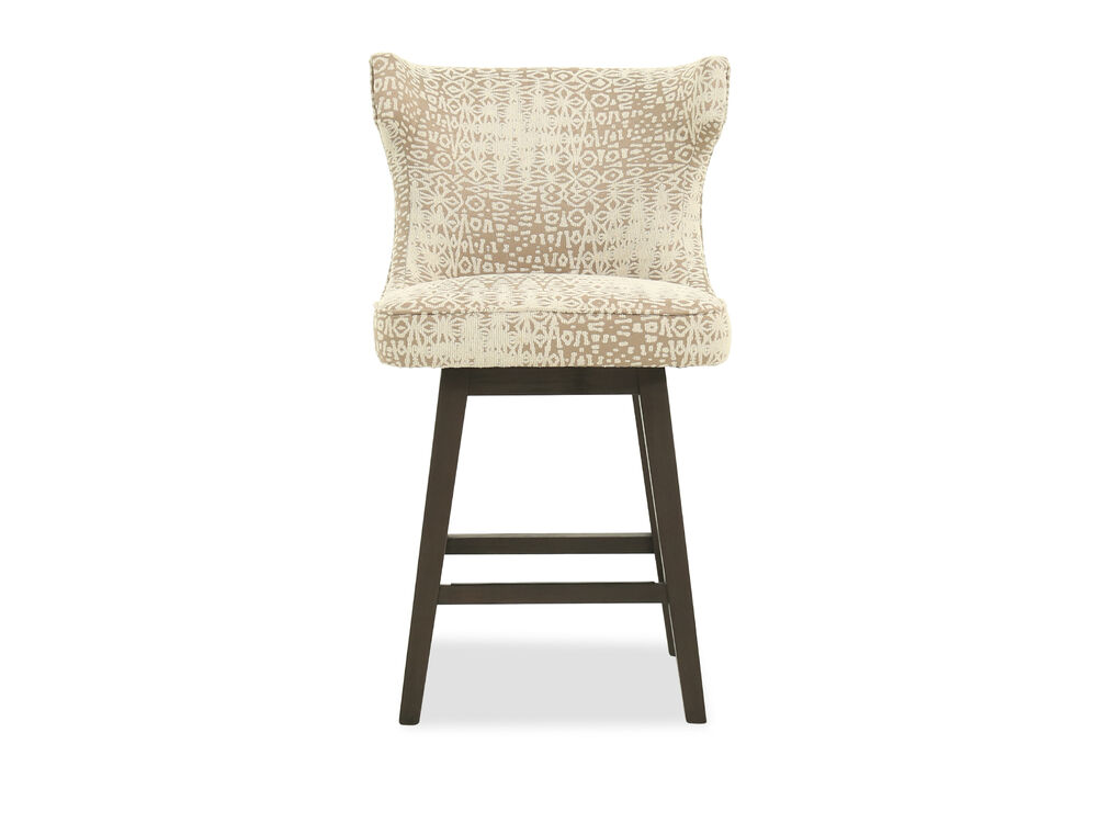 "Casual 39"" Abstract Patterned Bar Stool in Cream"