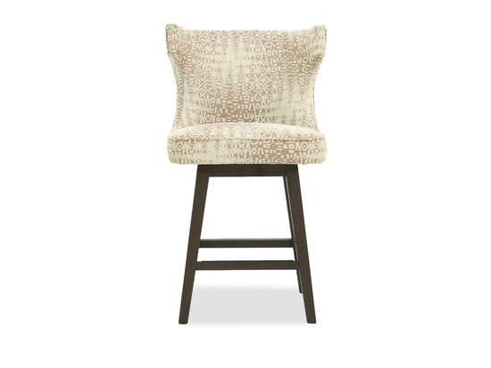 """Casual 39"""" Abstract Patterned Bar Stool in Cream"""