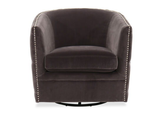 Nailhead-Trimmed Contemporary Swivel Accent Chair in Gray