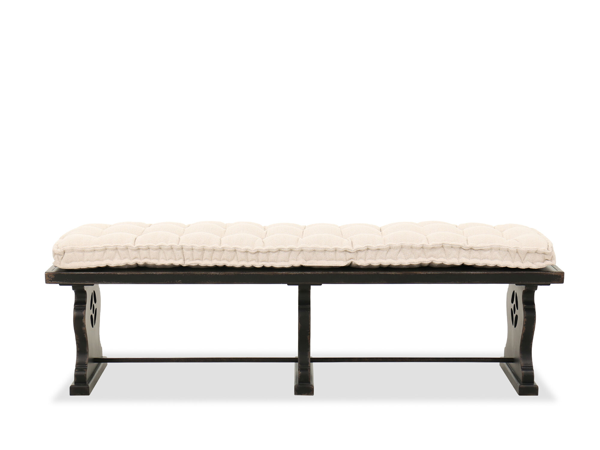 Tufted Casual 72 Bedroom Bench In Tuscany White Black Mathis Brothers Furniture