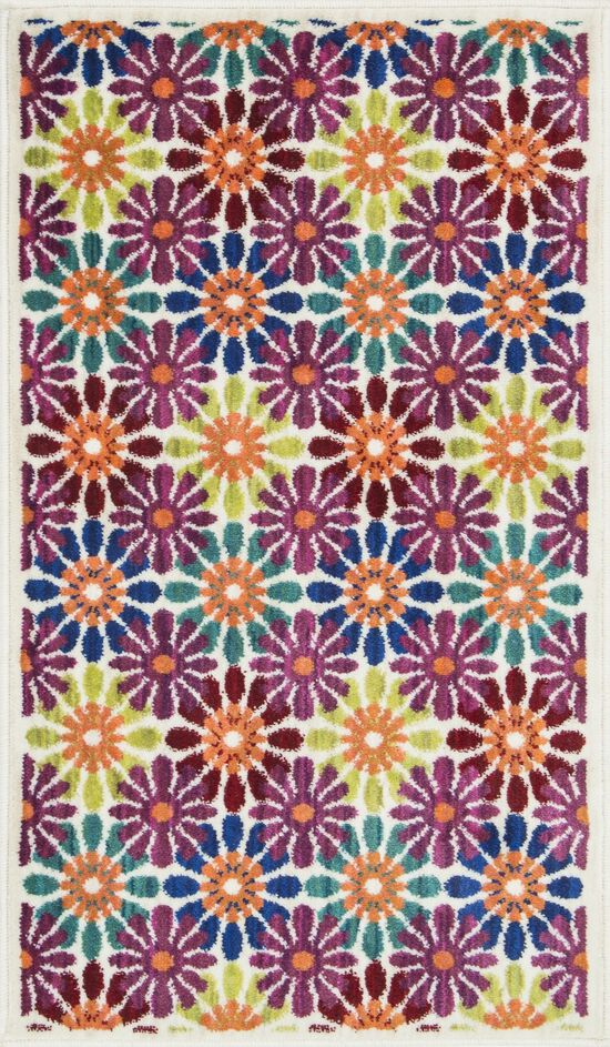 """Contemporary 2'-2""""x3'-9"""" Rug in Ivory/Multi"""
