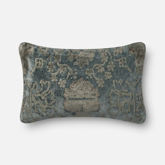 """Contemporary 1'-2""""x1'-10"""" Cover w/Poly Pillow in Grey/Blue"""