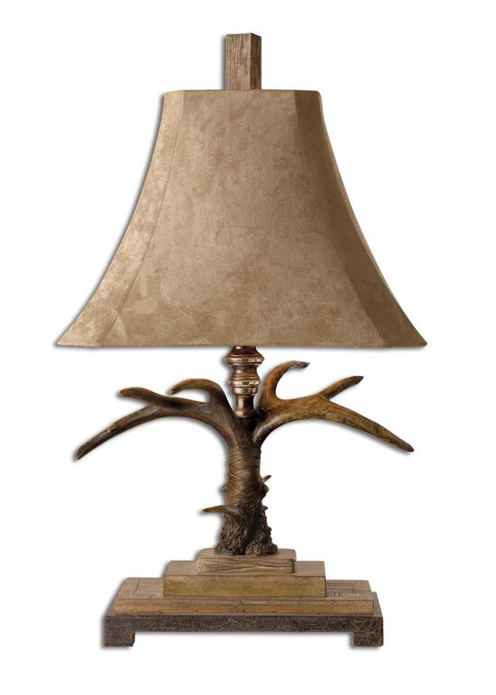 Bell-Shade Horn Table Lamp in Natural Brown