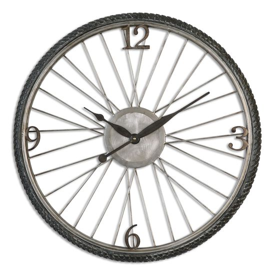 Spoked Round Wall Clock in Antiqued Silver Champagne