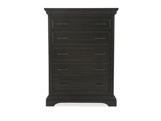 "59"" Solid Rubberwood Six-Drawer Chest in Black"