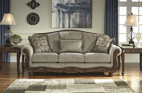"Traditional Rolled Arm 86"" Sofa in Cocoa"
