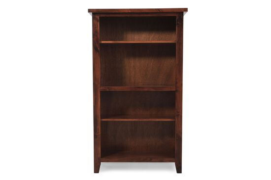 Casual Adjustable Shelf Open Bookcase in Medium Brown