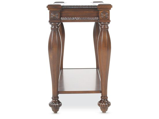 Rope Trimmed Sides Traditional Console Table in Cherry