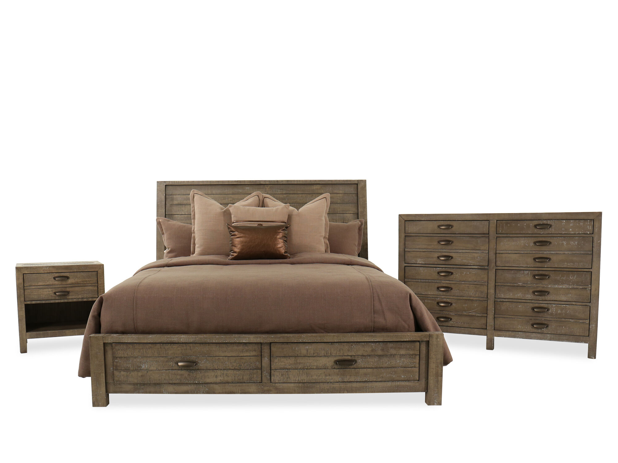 7051f3cc781a Three-Piece Solid Wood Storage Bedroom Set in River Rock | Mathis Brothers  Furniture