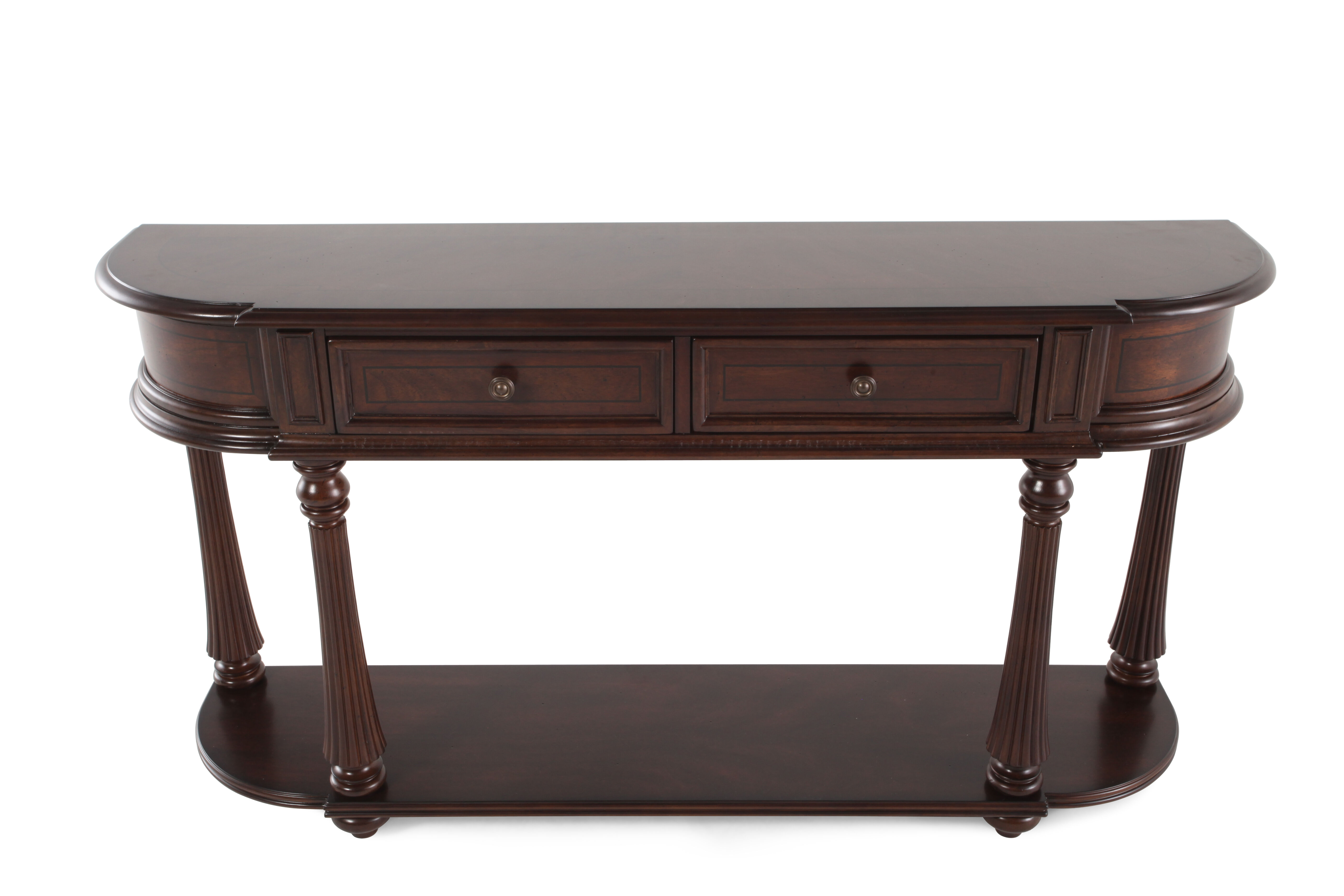Fluted Legs Traditional Console In Dark Mahogany