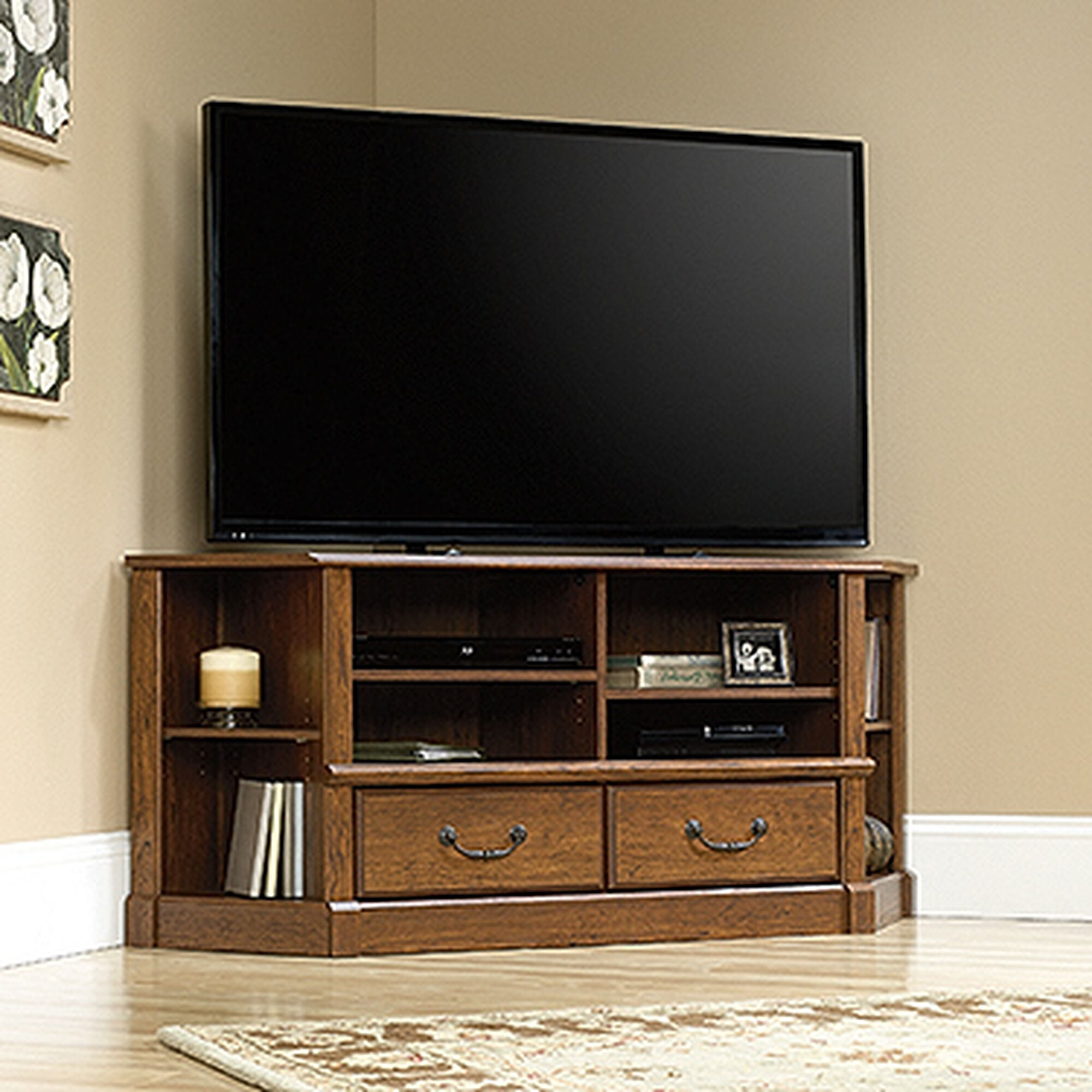Two Corner Shelf Contemporary Entertainment Credenza In Milled Cherry Mathis Brothers Furniture