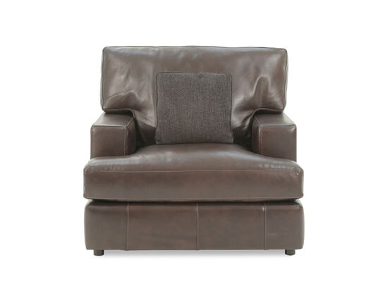 "Industrial Leather 43.5"" Chair in Brown"
