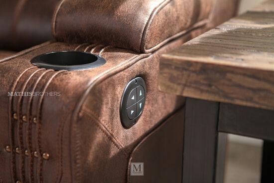 "Power Reclining Microfiber 84"" Sofa in Brown"