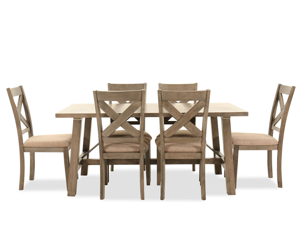 Navy And Gold Dining Room, Seven Piece Industrial Dining Set In Warm Brown Mathis Brothers Furniture