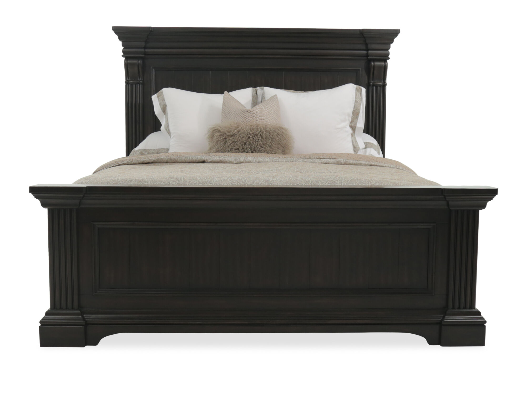 Great 70u0026quot; Traditional Paneled Queen Bed In Black ...