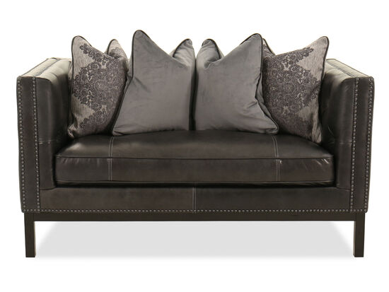 Nailhead-Accented Leather Loveseat in Slate