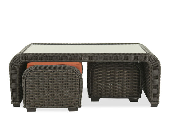 Casual Wicker Cocktail Table with Ottomansin Dark Gray