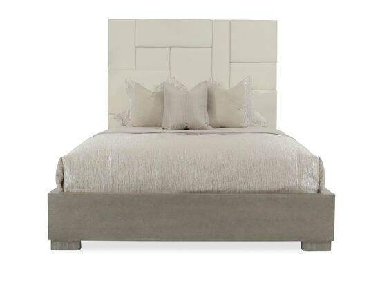"""78"""" Contemporary King Paneled Bed in Cream"""