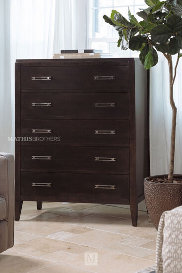 Transitional Five-Drawer Chest in Brown