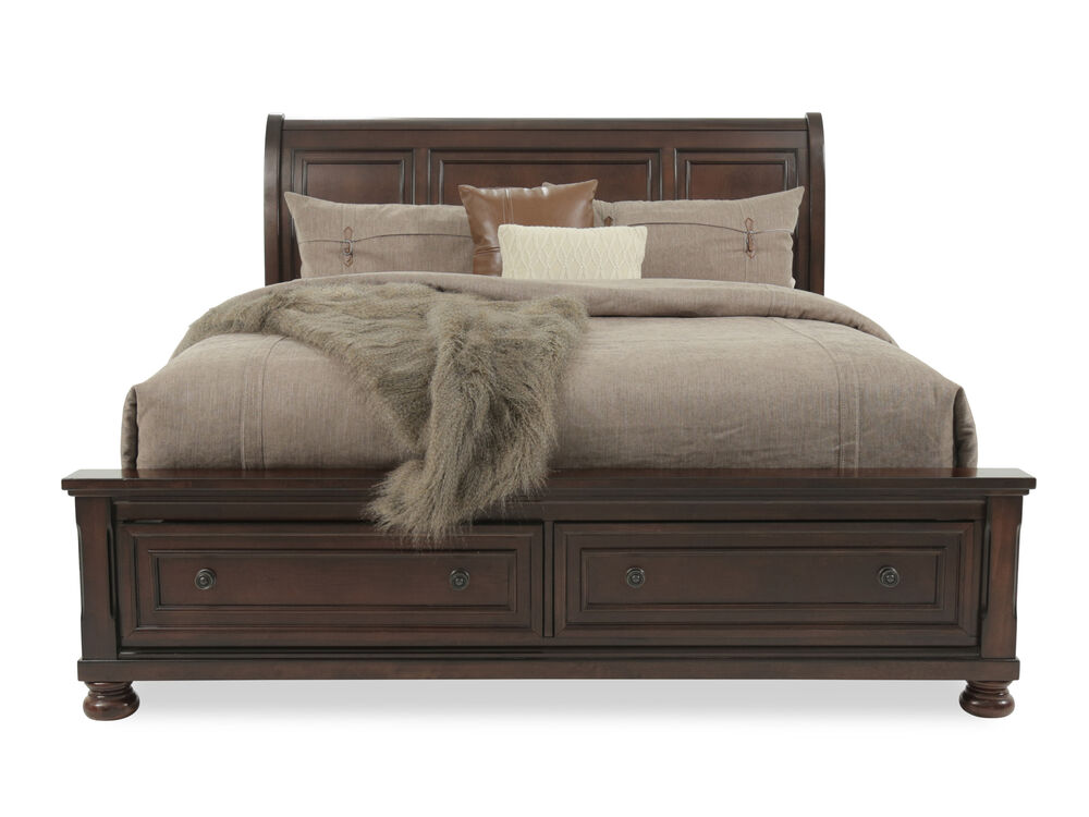 """57"""" Traditional Beveled Sleigh Bed In Dark Brown"""