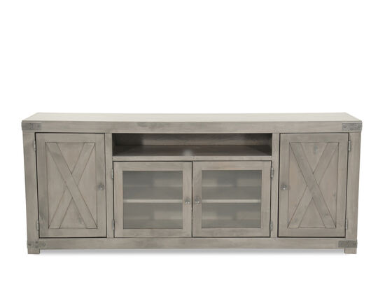 X-Door Front Traditional TV Stand in Gray