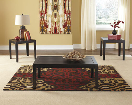 Three-Piece Framed Plank Rustic Farm House Occasional Table Set in Brown
