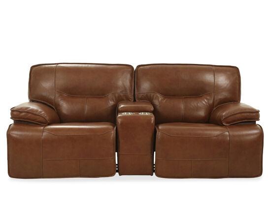 "Power Reclining Leather 85"" Loveseat in Medium Brown"