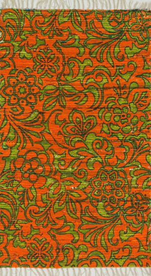 "Transitional 1'-8""x3' Rug in Orange/Lime"