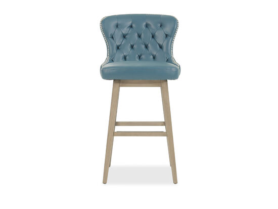 "Contemporary 42"" Tufted Bar Stool in Blue"